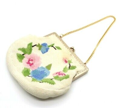 1950s Handbags, Purses, and Evening Bag Styles Wool Tapestry Embroidered Pansy purse floral pink Blue Handmade 1950s kitsch 40s $31.45 AT vintagedancer.com