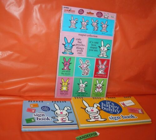 3 Piece Happy Bunny Sign Books And Magnet Collection Set Rude Sarcasm Humor
