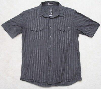 Billabong Gray Dress Shirt Short Sleeve Small Men Striped Cotton Two Pocket -