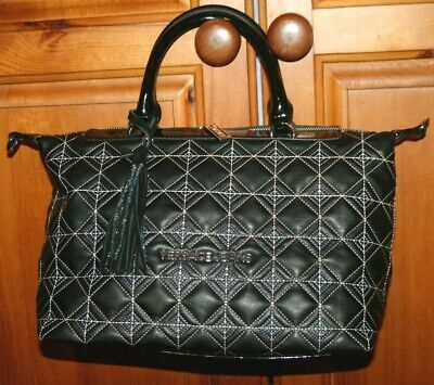 Womens Designer Versace Jeans Black Faux Leather Handbag Patent Large Bag Tassel