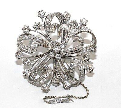 Platin Rund & Smaragd-Diamant Blume Haufen Damen Anstecknadel Brosche 12.80Ct