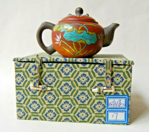 Vintage Yixing Zisha Jiangsu Province Red Clay & Enamel Teapot with Rattle Lid