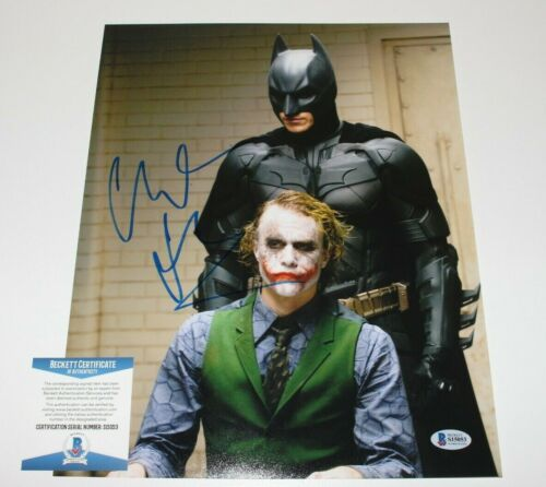 CHRISTIAN BALE SIGNED 'THE DARK KNIGHT' 11x14 MOVIE PHOTO BECKETT COA C BATMAN