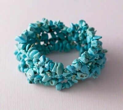 Teal Blue Color (Teal Blue Boho Bohemian Faux Turquoise Color Thick Chip Bead Stretch)