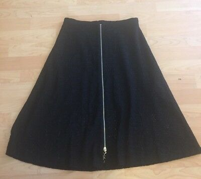 Zara Basic Black Lace A-line MIDI Skirt Size M Front Zipper Silver Casual G16
