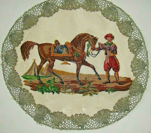 Antique petit point embroidery of Arabian horse and man for framing up