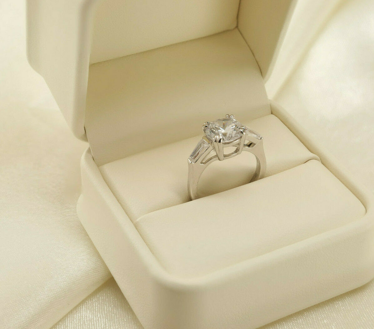 2 Ct Round Cut Diamond Solitaire Engagement Ring 14k White Gold Finish Size 4-10
