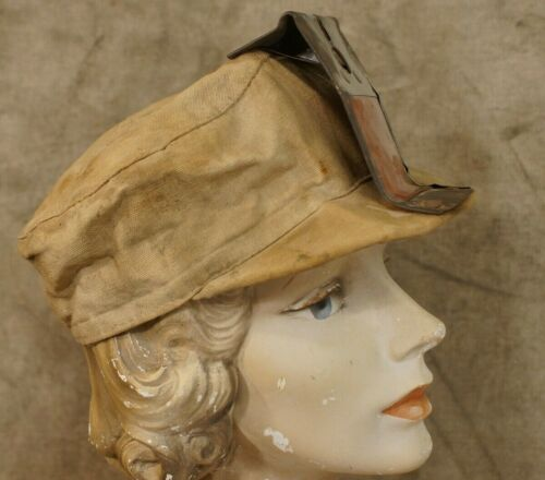 Antique Cotton Fitted Mining Hat with Metal Bracket Size Small