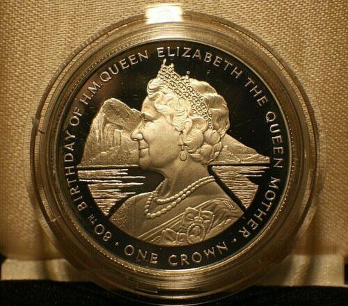 1980 Gibraltar Elizabeth 80th Birthday One Crown Sterling Silver Proof KM#11a