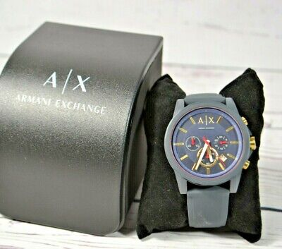 NIB MENS ARMANI EXCHANGE OUTER BANKS CHRONOGRAPH DARK BLUE SILICONE WATCH AX1335
