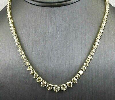 Rund Diamant Klaster Abgestuft Tennis Damen Halskette 18K Gelbgold 23.34Ct