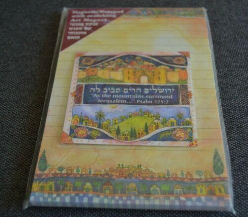 Vtg Magnetic Note Pad w/Matching Art Magnet JERUSALEM PSALM 125:2 C. MAZAL ART