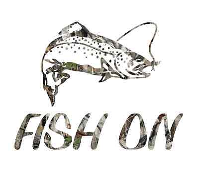 """8"""" Camouflage fish on trout skillet fishing sticker camo print decal"""
