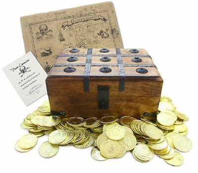 "Well Pack Box Wooden Pirate Treasure Chest 9"" x7"" x5"" with 144 Plastic Gold Coin - Wooden Treasure Chest Box"
