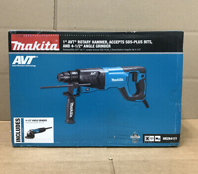 Makita Hr2641x1 Sds-plus Avt Rotary Hammer With Case And 4-12 Angle Grinder