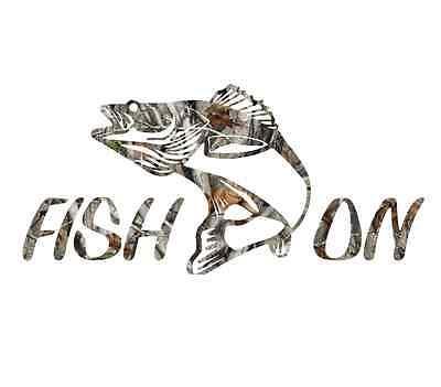 "8"" Camouflage fish on fisherman walleye fishing sticker camo print decal"