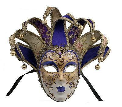 Mask Venice Volto Jolly Purple and Golden 8 Nails Duchess 36 VG6