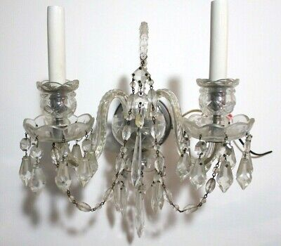 Antique Albert Crystal Prisms Sconce Hall lamp Vintage Double Arm Candle fixture Hall Crystal Sconce