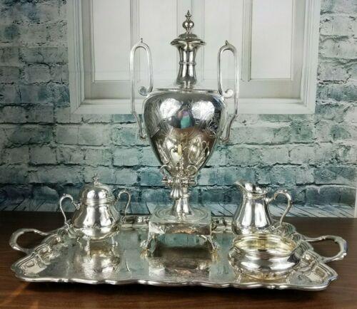Antique Silver Plated Paw Footed Samovar Set w/Sugar, Creamer, Tray & Waste Bowl