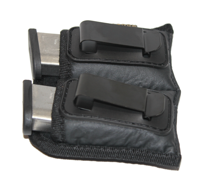 M/&P Shield IWB Double Magazine Holster for Single Stack 9mm Mag fits Glock 43