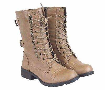 Women's Short Mid Calf Beige Combat Military PU-Leather Boots (Beige Combat Boots Women)