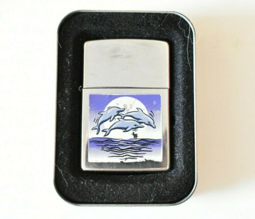 Vintage Collectible Zippo Lighter  w/Desigh Dolphins & box (Working)
