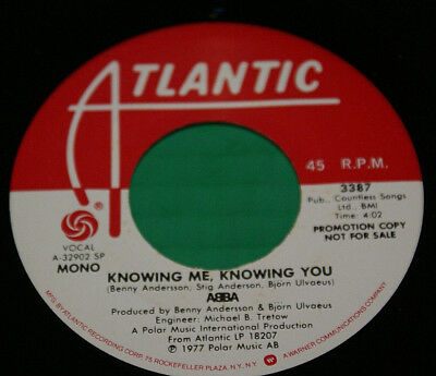 "Abba knowing me you mono & stereo Rare 7"" Promo Record Single 1977 Out Of Print"