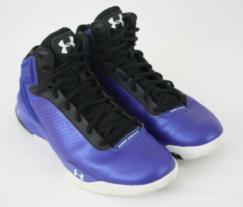 Under Armour Mens Blue Leather Micro G Basketball Sneakers Shoes Size 8M