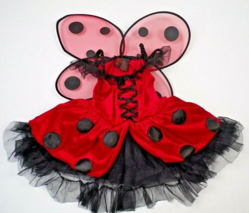Ladybug Tutu Costume Dress With Wings Halloween Dress Up Party 4T Red Black
