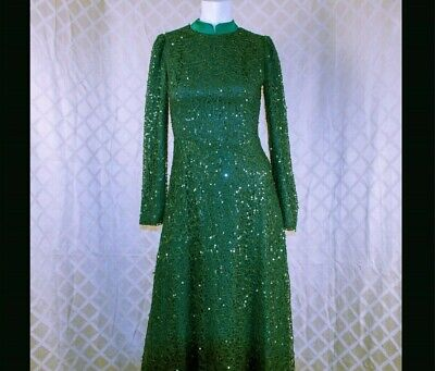MINAL ASK  Forest Green Sequins Woman Formal Long Dress