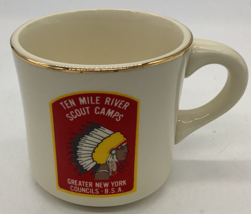 BSA Ten mile river scout camps greater N.Y. councils cup Indian Head Logo 1970s