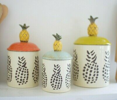 Pineapple Canister Set Kitchen Decor Ceramic Set of -