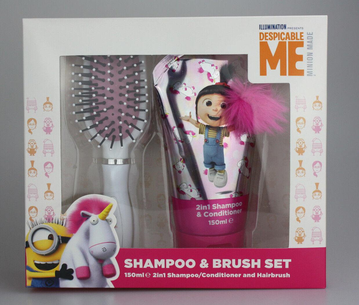 Despicable ME Geschenkset Kinder Mädchen 150ml 2in1 Schampoo + Haarbürste