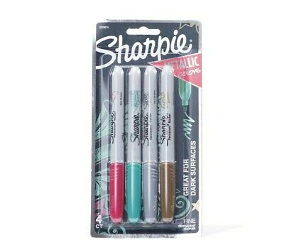 Lot Of 2 Sharpie Metallic Permanent Markers Fine Point 4 Assorted Colors
