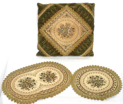 Olive Green Floral Pillow and 2 Doilies Vintage Set from West Germany