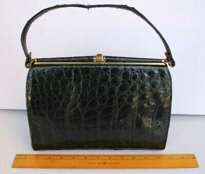 1940s Handbags and Purses History Vintage 1940s 1950s Genuine Alligator Black Footed Hand Bag w/ Coin Purse Mirror $79.95 AT vintagedancer.com