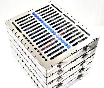 5 Blu-german Dental Autoclave Sterilization Cassette Rack Tray For 15 Instrument