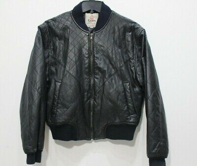 Vintage Guess by Georges Marciano leather jacket quilted mens Small black zip up