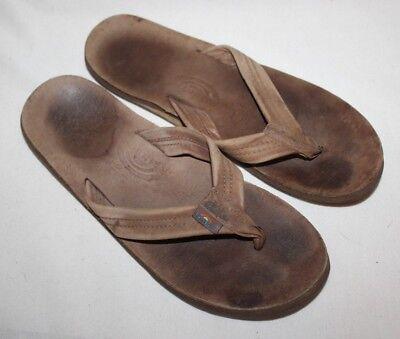 Brown Unisex Flip Flops - RAINBOW Sandals Flip Flops Brown AUTHENTIC Unisex Size M/L 11.75