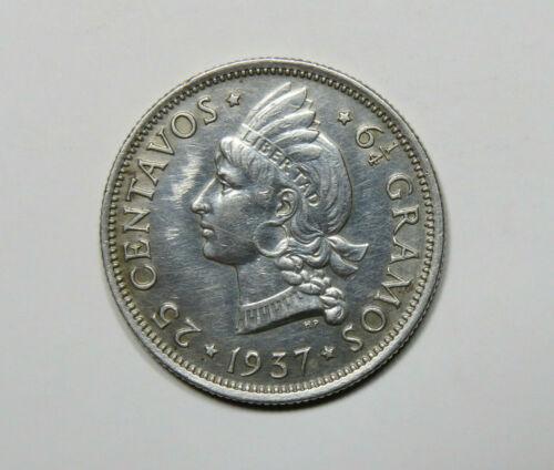 1937 Dominican Republic 25 Centavos Foreign Silver Coin