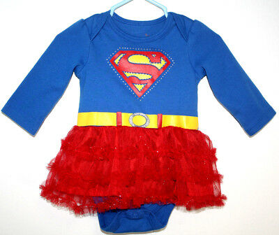 Supergirl Costume Size 6 (DC Comics Supergirl Size 3/6 Months 1 Piece Red Blue Halloween Costume)