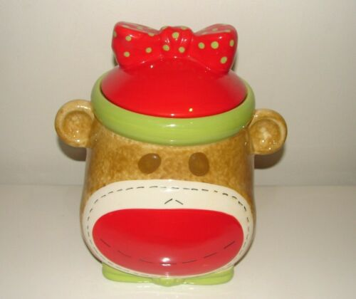 Real Home Sock Monkey Cookie Jar Earthenware No Defects Very Nice