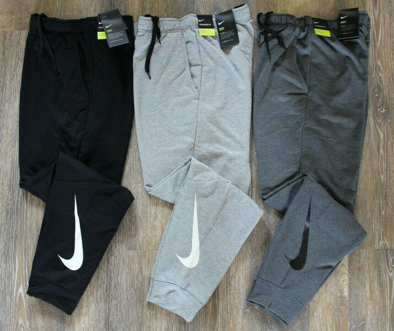 NWT NIKE Men's Dri-Fit Fleece SWOOSH Jogger Sweatpants Gray Black S M L XL XXL
