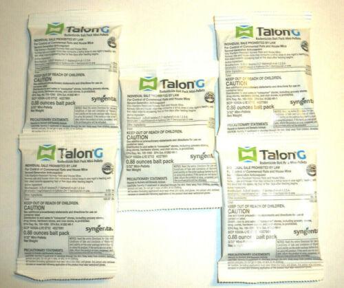 Talon G One Bite Mouse Mice Rat Rodent Bait Pellets With Bitrex 5 Place Packs
