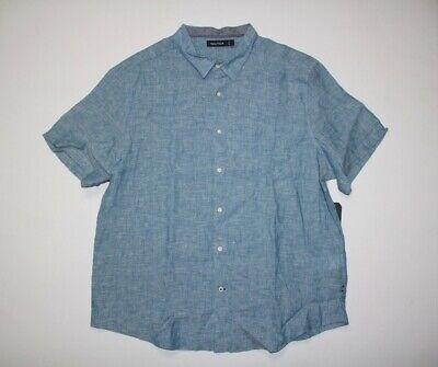 - New Nautica Men's 3XL Cargo Blue Linen S/S Button Down Shirt