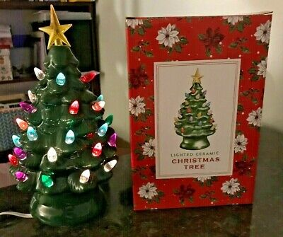 """Vermont Country Store Lighted Ceramic Christmas Tree 10"""" Holiday Decoration Star ()"""