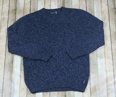 Fisherman Out Of Ireland V Neck Sweater Mens Large Blue Wool