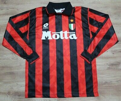 AC Milan Jersey Shirt Lotto 100% Original 1993/1994 Home LS Good Condition