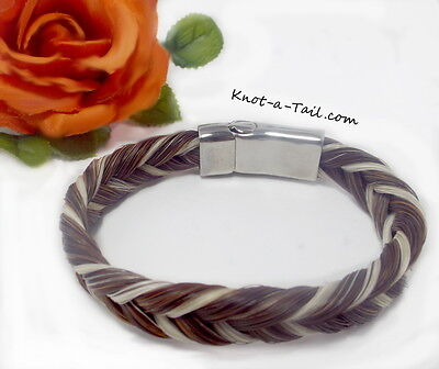 Exceptional wider, magnetic clasp, horse hair bracelet, sorrel / white horsehair