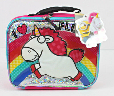 Minion Lunch Box (Despicable Me Minions Unicorn Insulated Lunch Bag Box Fluffy New)